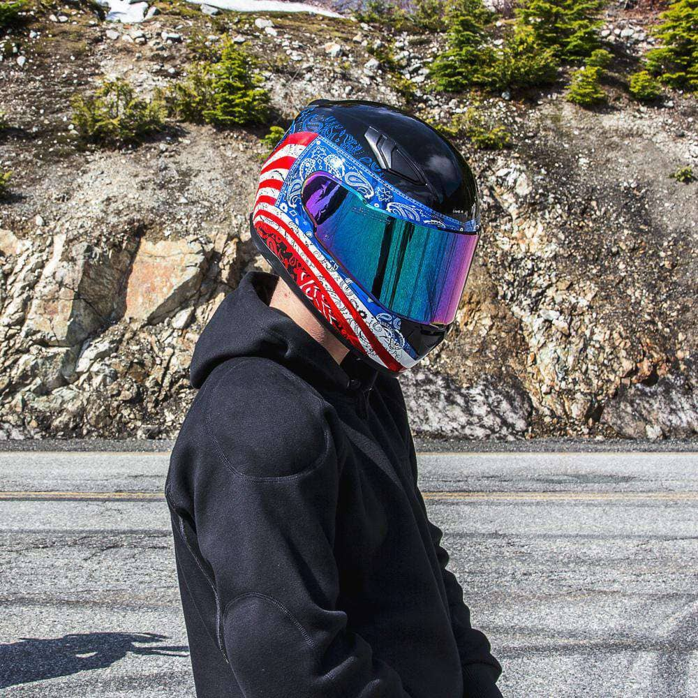 988 Moto-1 Full Face Red and Blue America Helmet - Voss Helmets