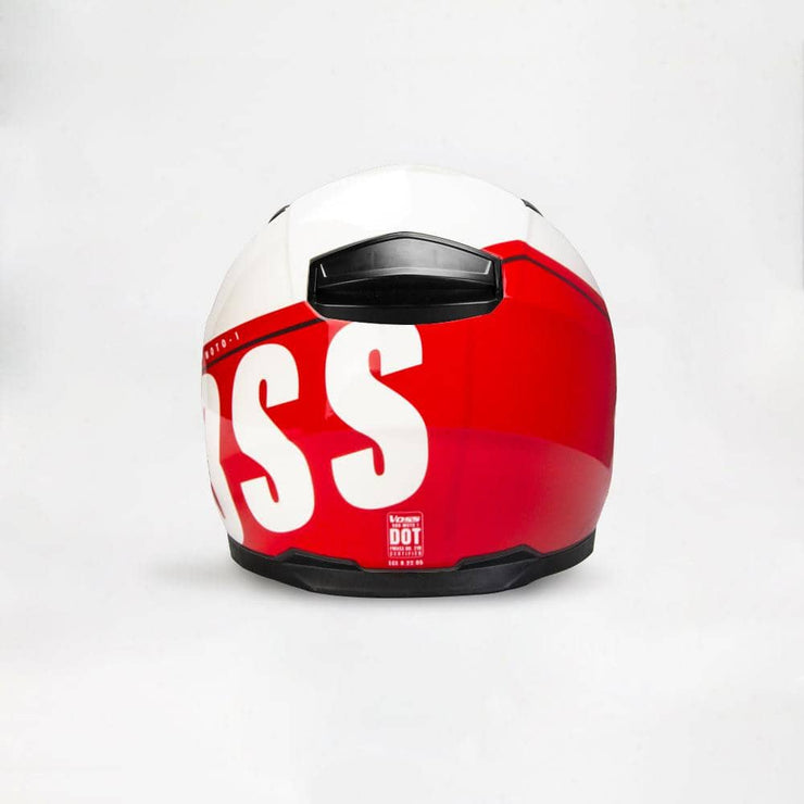 The 988 Moto-1 Schooled in Red Full Face Helmet