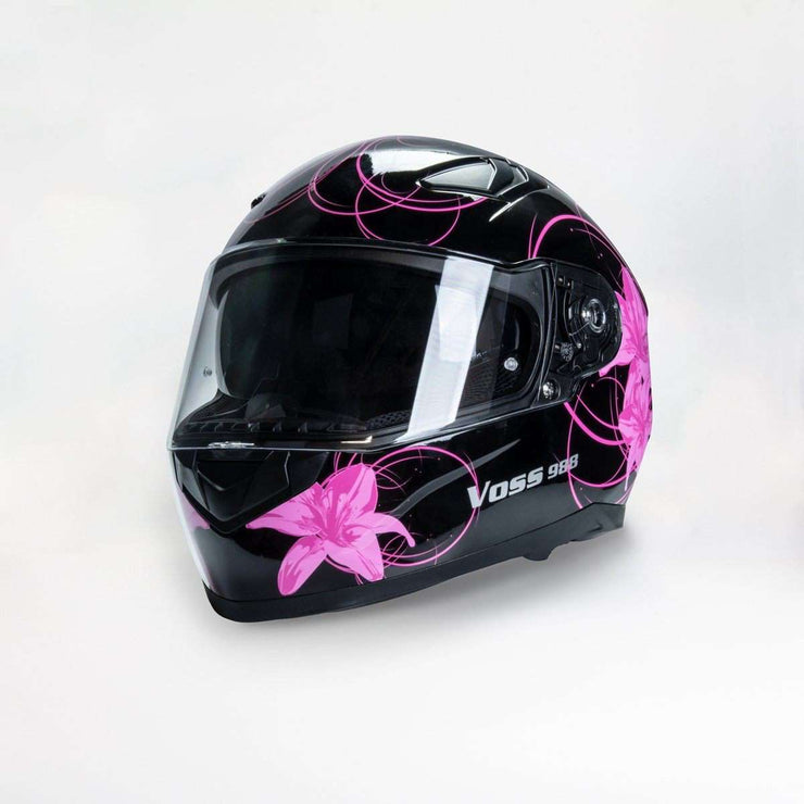 988 Moto-1 Full Face Gloss Black Lily Helmet with sun lens - Voss Helmets