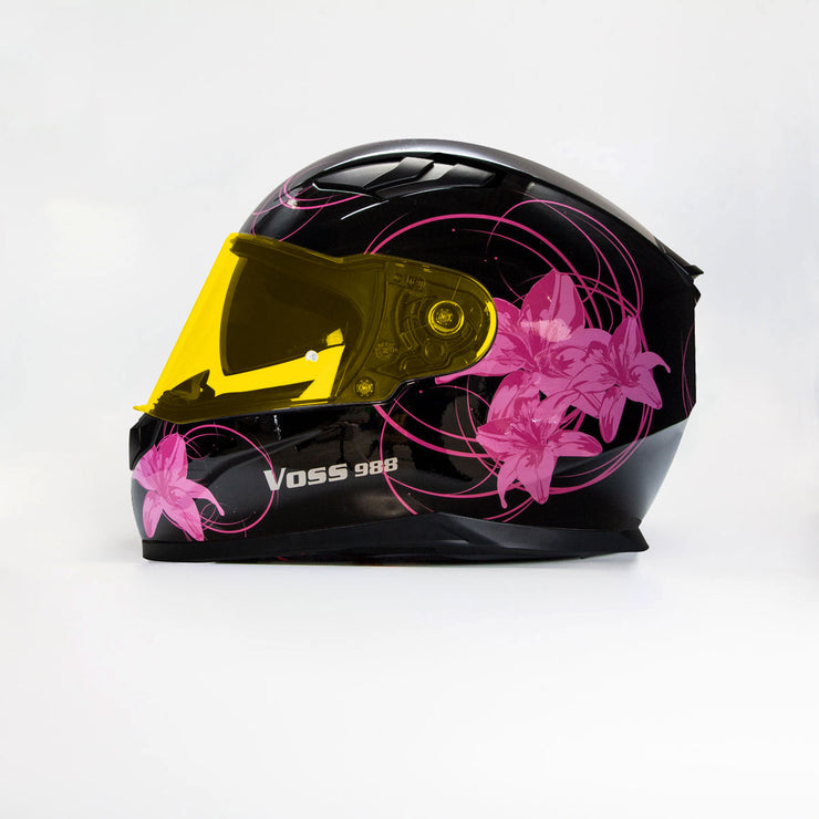 988 Moto-1 Full Face Gloss Black Lily Helmet with sun lens
