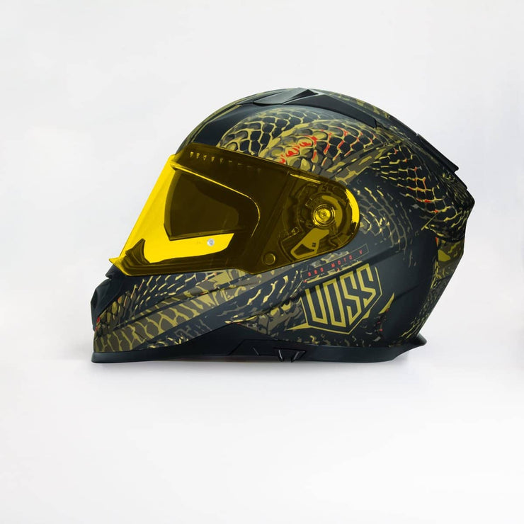 989 Moto-V Full Face Large Matte Green Serpiente Helmet with Integrated Sun Lens. Pinlock 70 Include