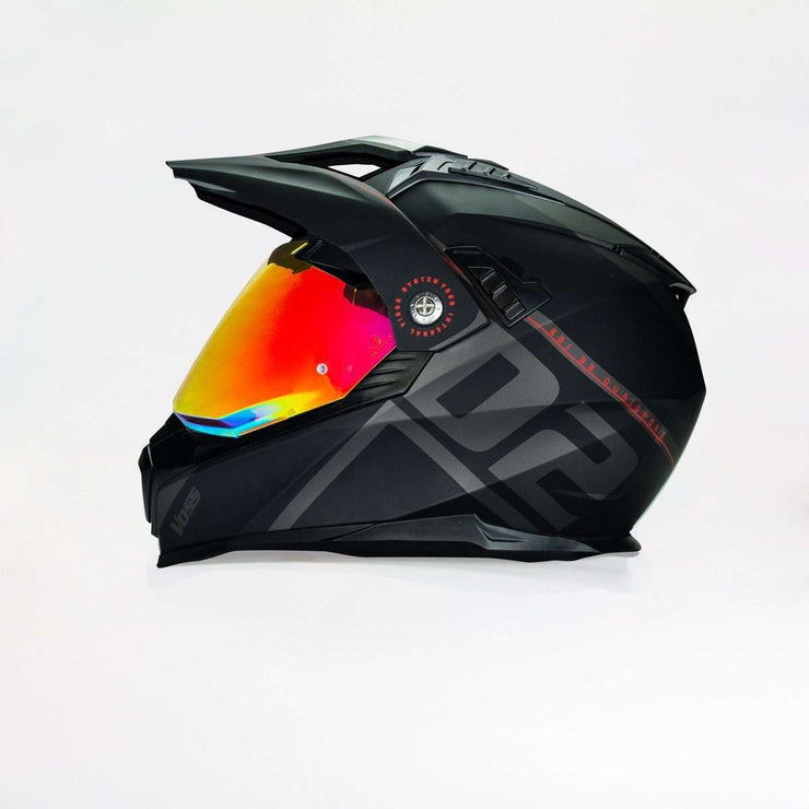 Available Now 601 D2 Dual Sport Helmet - Red Motif Matte - Voss Helmets
