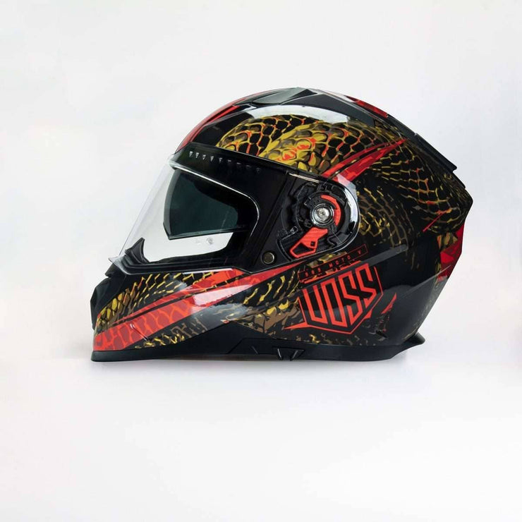 989 Moto-V Gloss Red Serpiente Full Face Helmet - Voss Helmets
