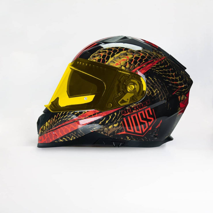 The 989 Moto-V Gloss Red Serpiente Full Face Helmet