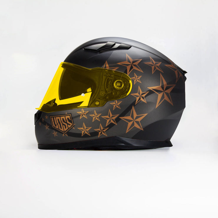 The 988 Moto-1 Sgt Pepper Matte Black/Bronze Full Face Helmet