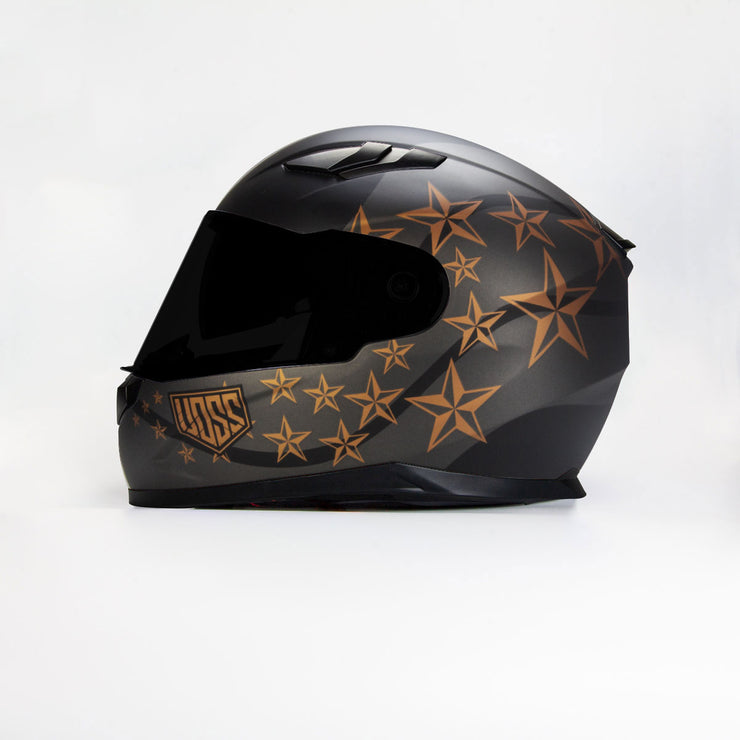 The 988 Moto-1 Sgt Pepper Matte Black/ Bronze Full Face Helmet