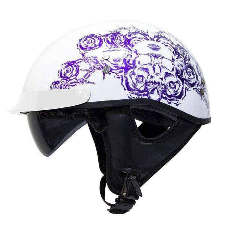888 Bullet Cruiser Skull and Rose Women's Gloss White Half Helmet - Voss Helmets