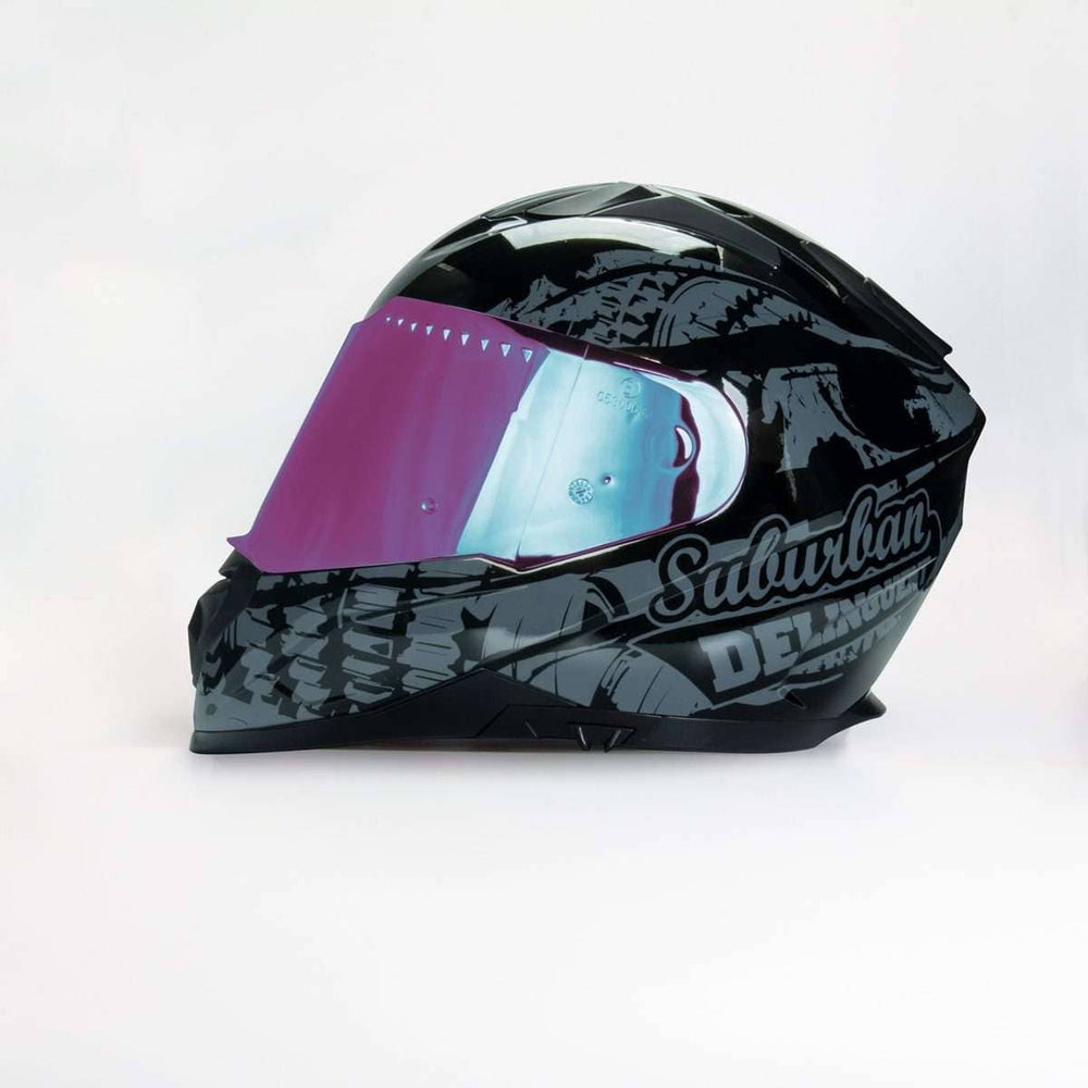 989 Moto-V Suburban Delinquent Full Face helmet with Integrated Sun Lens - Voss Helmets