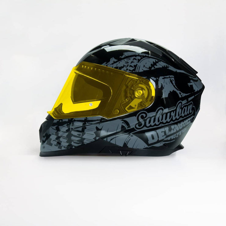 989 Moto-V Suburban Delinquent Full Face helmet with Integrated Sun Lens