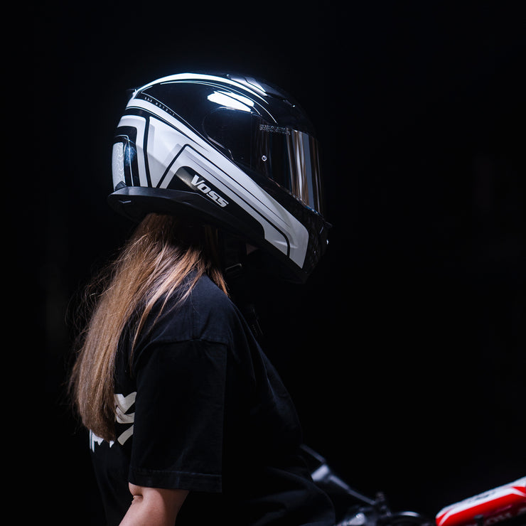 988 Moto-1 Gloss White Black Katana Full Face Helmet