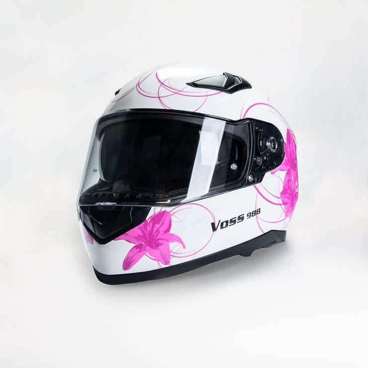 988 Moto-1 Women's Full Face Gloss White Lily - Voss Helmets