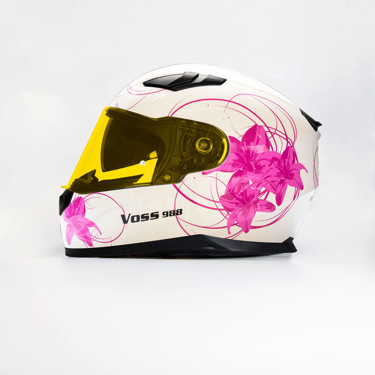 988 Moto-1 Women's Full Face Gloss White Lily