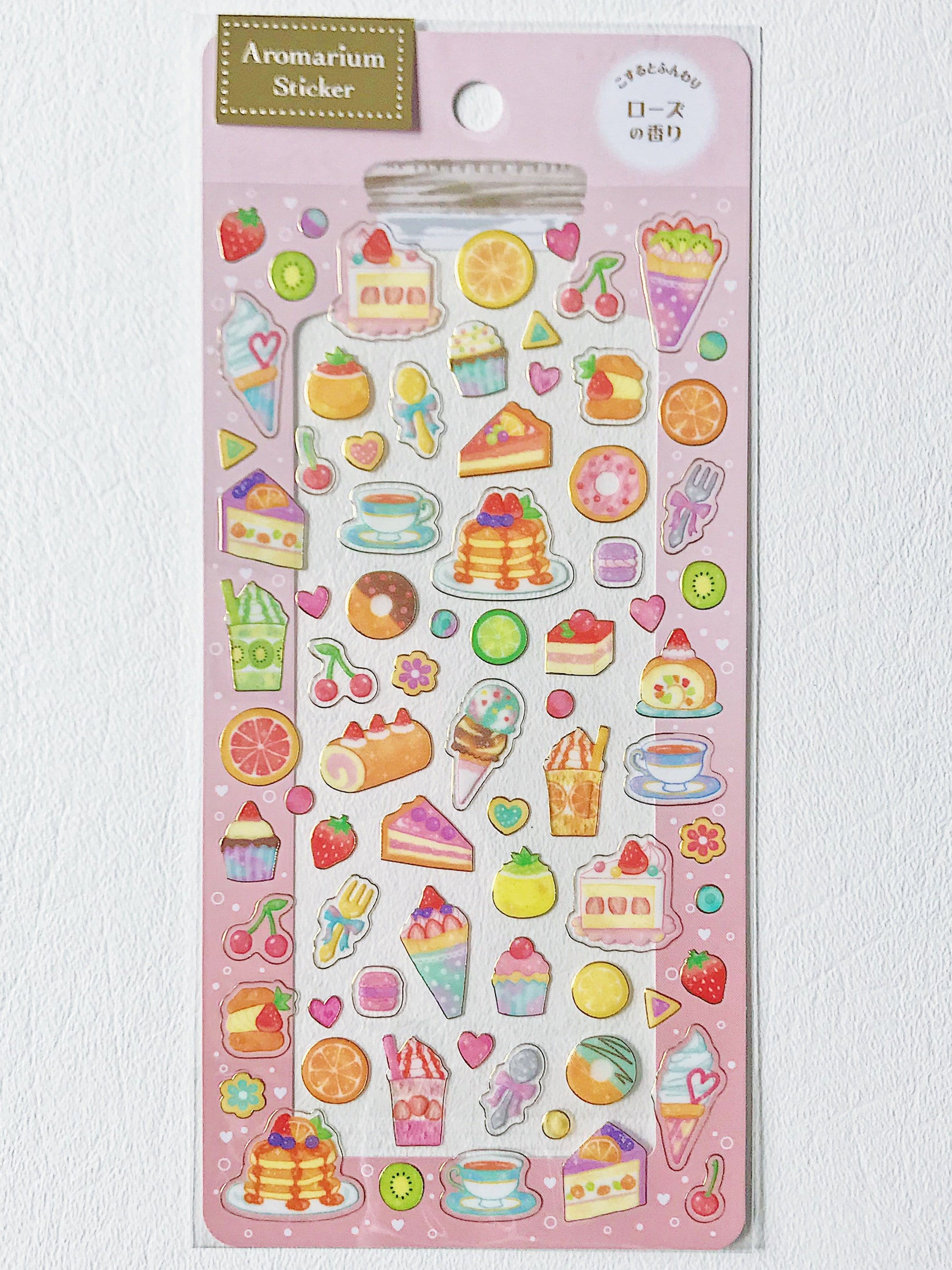 Scented Aromarium Clear Stickers- Sweet Tooth Theme, Rose Scent