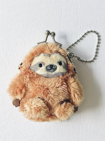 Sloth Coin Purse Keychain