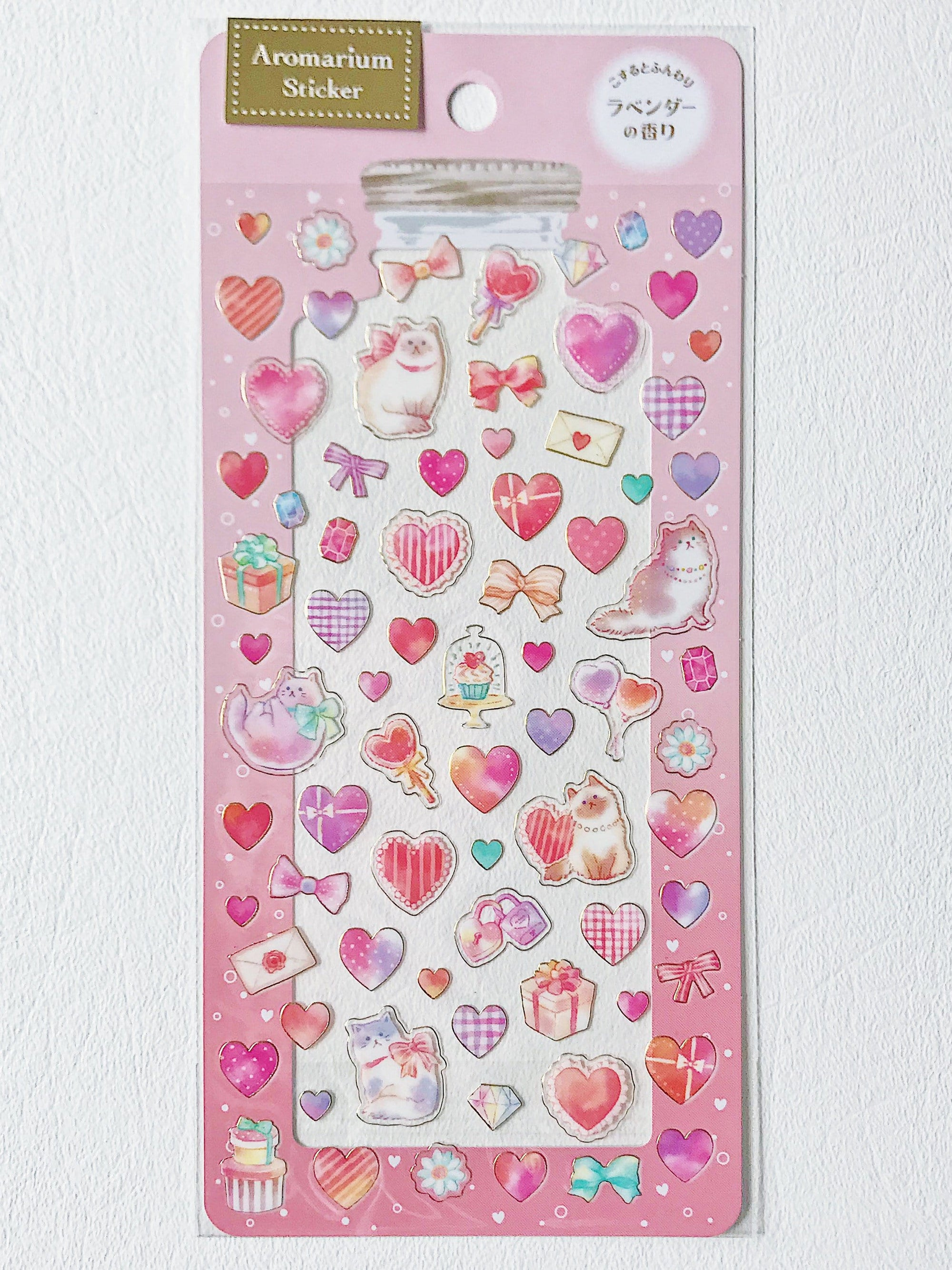 Scented Aromarium Clear Stickers- Pretty Hearts Theme, Lavender Scent