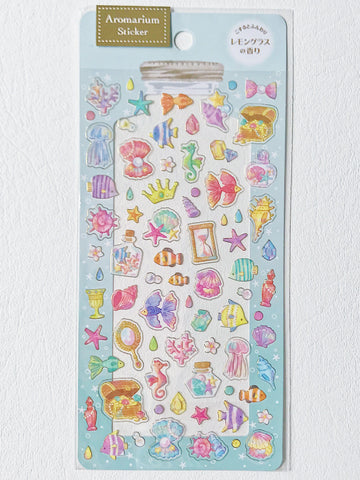 Scented Aromarium Clear Stickers- Ocean Theme, Lemongrass Scent