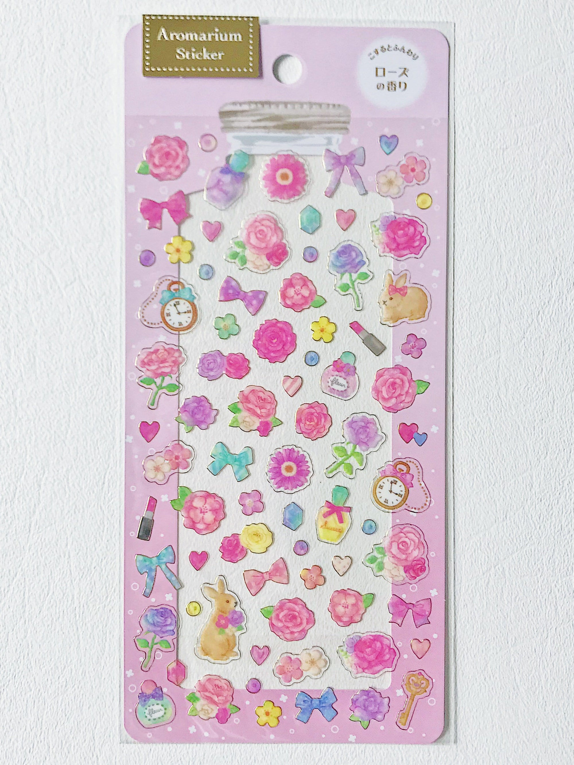 Scented Aromarium Clear Stickers- Romantic Roses Theme, Rose Scent