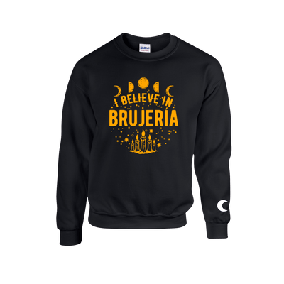 I Believe in Brujería Black and Gold Sweater