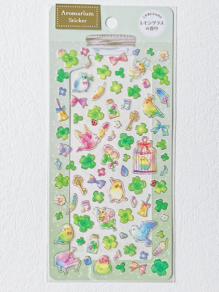 Scented Aromarium Clear Stickers- Birds & Clovers Theme, Lemongrass Scent