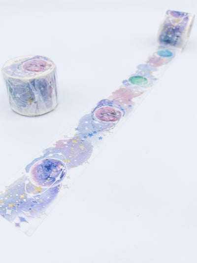 Watercolor Planets Silver Foil Large Washi Tape