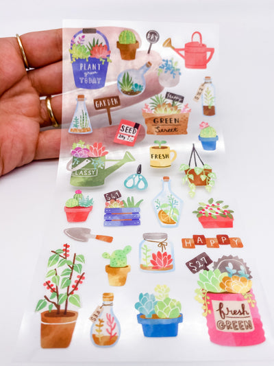 Watercolor Succulents and Plants Sticker Sheet