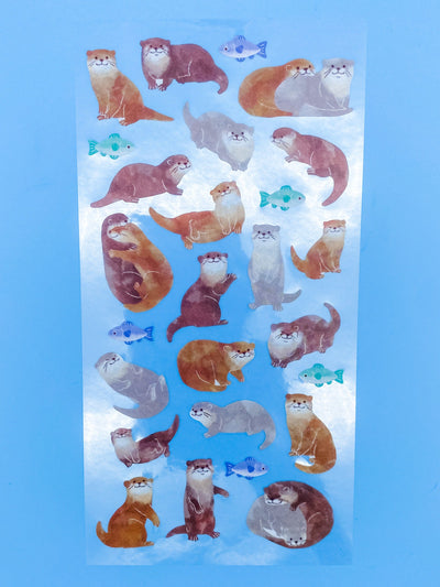 Watercolor Otters Sticker Sheet