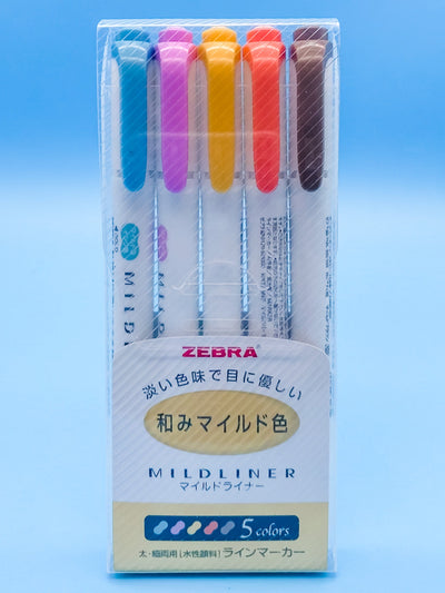 Zebra Mildliner Double-Sided Highlighter Pens Warm 5 Color Set