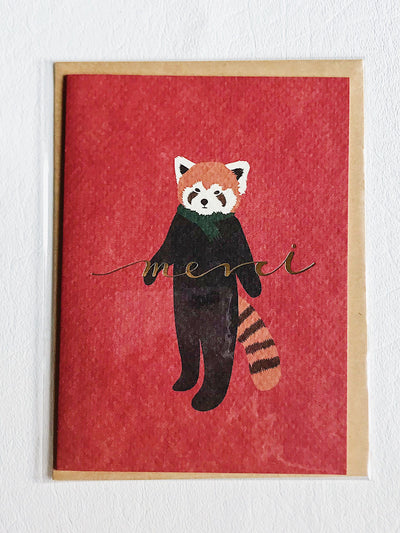 Thank You Card Merci Red Panda