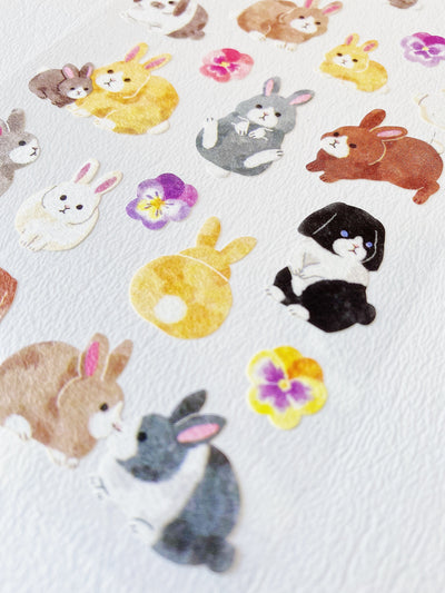 Watercolor Bunny Rabbits Sticker Sheet