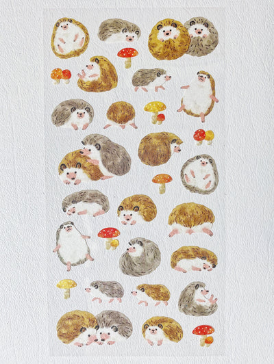 Watercolor Hedgehogs Sticker Sheet
