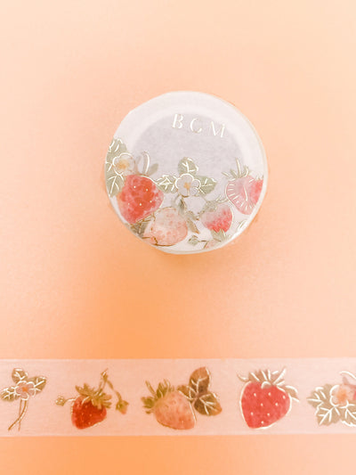 Strawberry Gold Foil Washi Tape