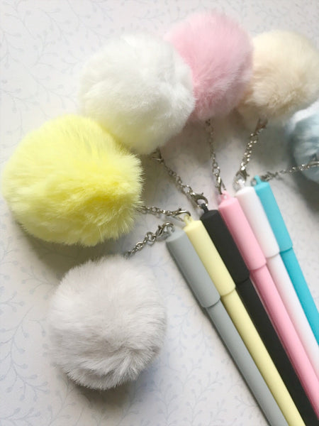 Light Up Pastel Pom Pom Gel Pens