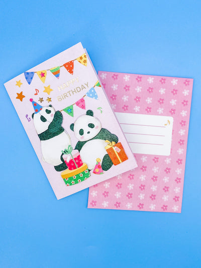 Panda Party Happy Birthday Card