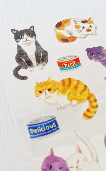 Watercolor Cats Sticker Sheet