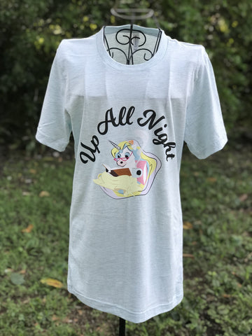 Up All Night Unicorn Tee