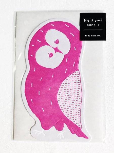 All Occasion Card Hellowl Pink Owl