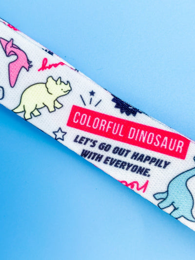 Jurassic Party Colorful Dinosaurs Lanyard