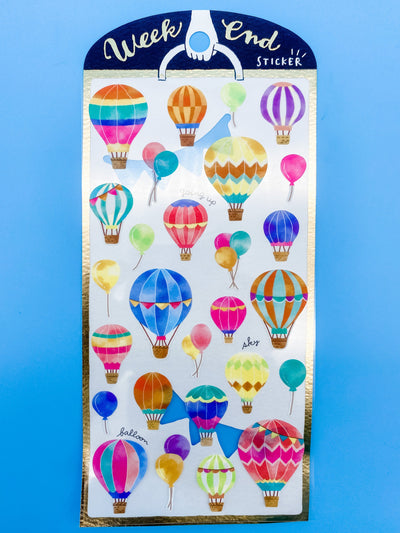 Watercolor Hot Air Balloons Sticker Sheet