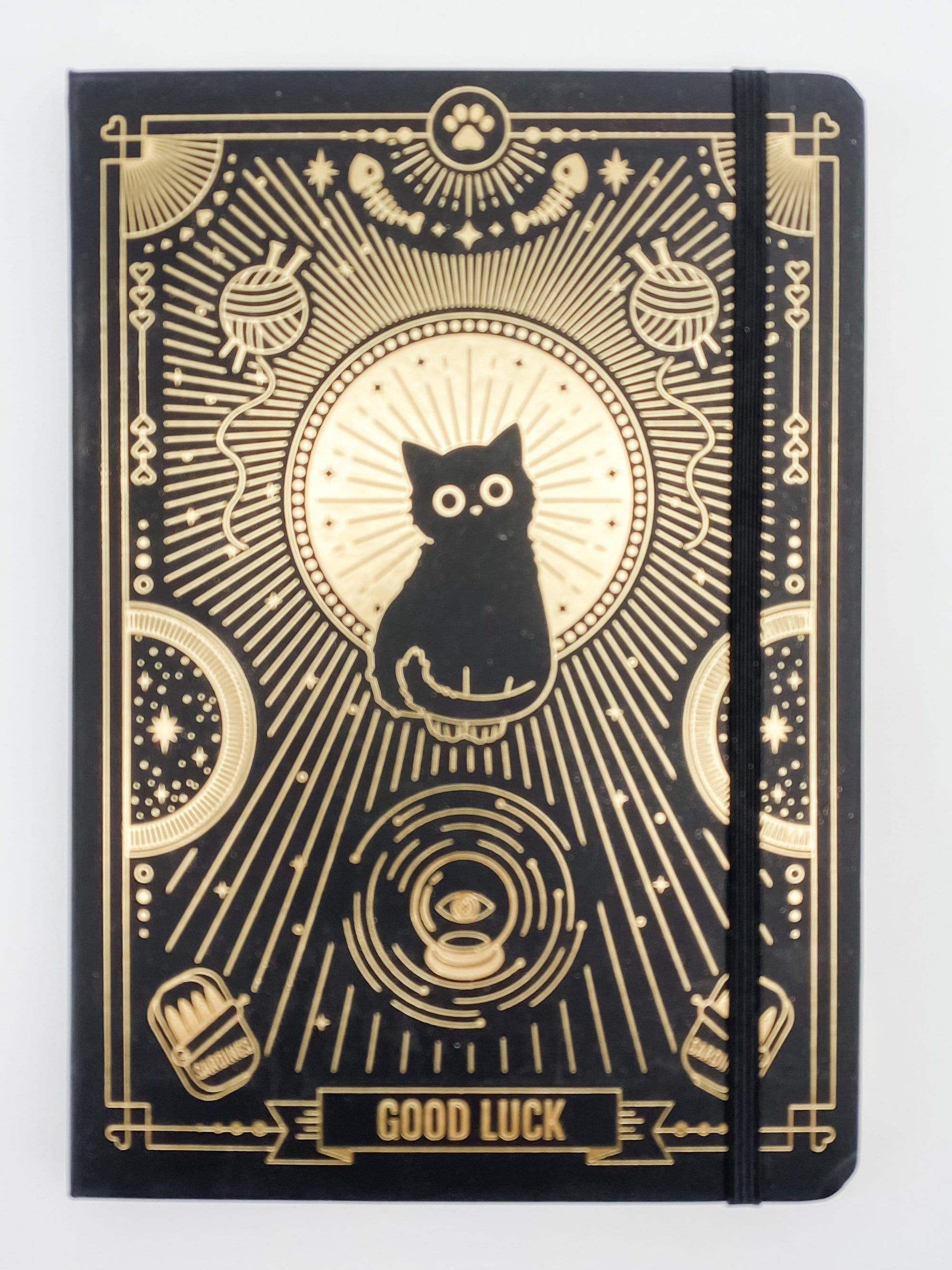 Good Luck Black Cat Premium Dot Grid Journal