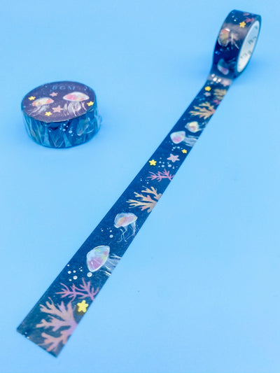 Jellyfish in the Deep Black Washi Tape