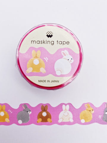 Bunny Tails on Pink Die Cut Washi Tape (AA00127)