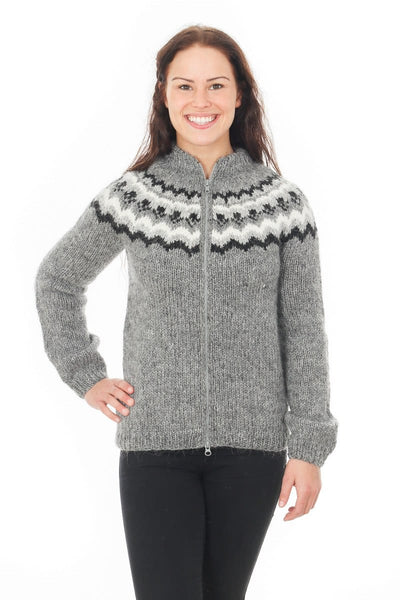 Hlín - Icelandic Wool Cardigan - Grey, Icelandic Cardigan for women - icelandicstore.is