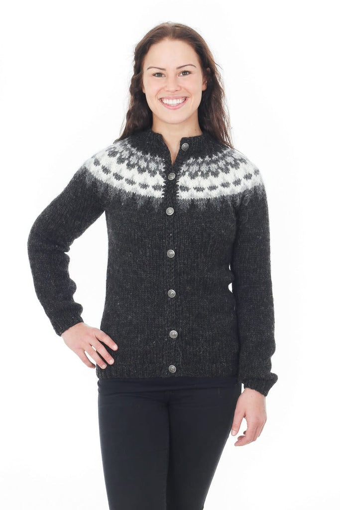 Hel - Icelandic Wool Cardigan - Black Heather – icelandicstore.is 766a34543