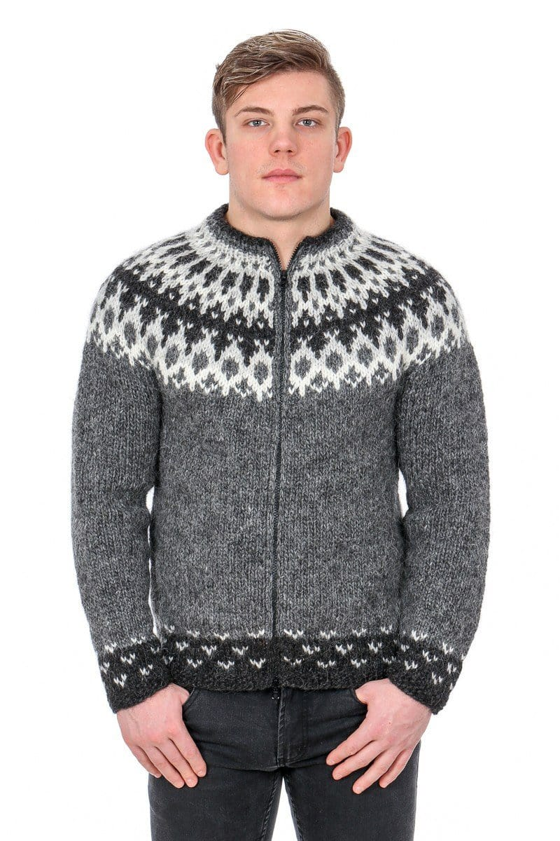 Thor - Icelandic Sweater Cardigan - Grey, Icelandic Cardigan for men - icelandicstore.is