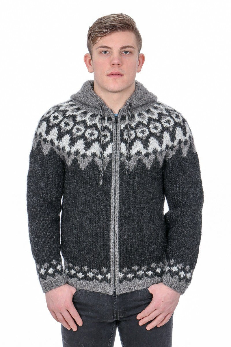 Handmade knitted deep blue Icelandic style natural Merino wool men sweater with bright pattern