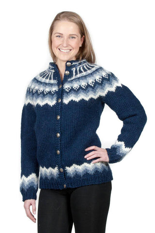 Særún - Icelandic Wool Cardigan - Blue, Icelandic Cardigan for women - icelandicstore.is