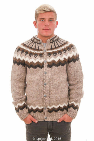 Odin - Icelandic Cardigan Sweater - Light Beige, Icelandic Cardigan for men - icelandicstore.is