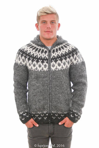 Thor - Icelandic Hooded Cardigan - Grey, Icelandic Cardigan for men - icelandicstore.is