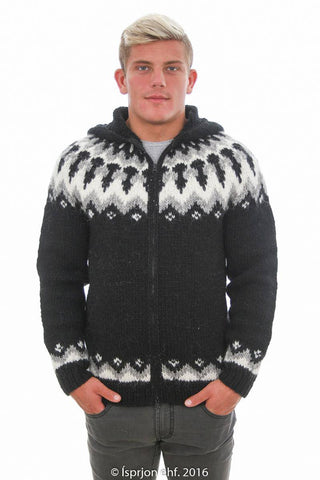 Forseti - Icelandic Hooded Cardigan - Black, Icelandic Cardigan for men - icelandicstore.is