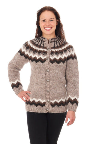 Skjaldmey - Icelandic Wool Cardigan - Ivory Beige, Icelandic Cardigan for women - icelandicstore.is